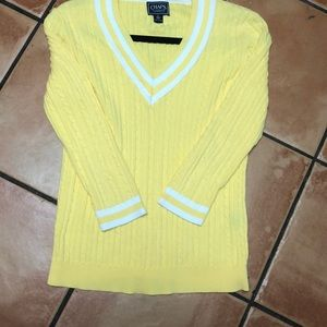 Chaps Small Yellow Cable Knit Sweater